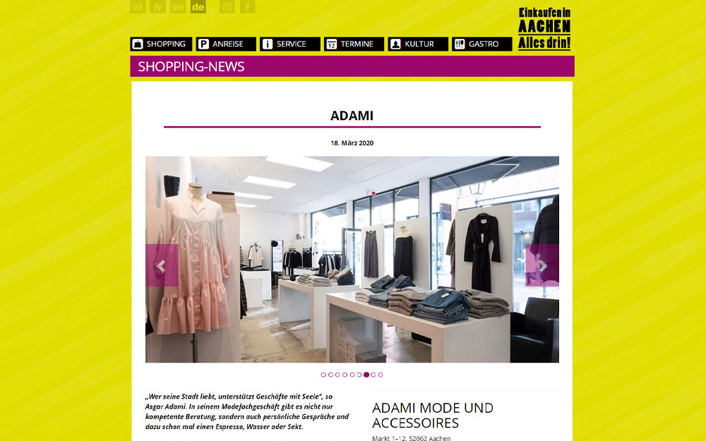 Screenshot Beitrag Adami auf der Webseite aachen-shopping.de