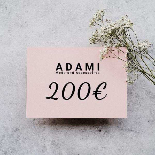 Geschenkkarte für Adami Mode im Wert von 200€.